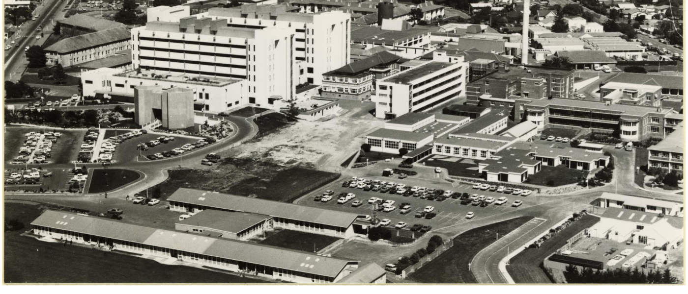 Aerial view of Palmerston North Public Hospital 1980 Created by Manawatu Evening Standard